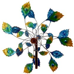 Colorful Peacock Tail Kinetic Windmill Garden Stake w/ 2 Sets of Blades 75 High