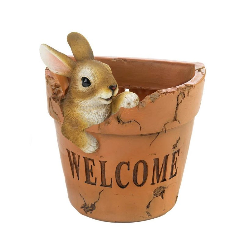 Image 0 of Welcoming Bunny Flower Pot w/ Drain Hole