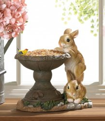 Seed Bird Feeder with Two Playful Bunnies