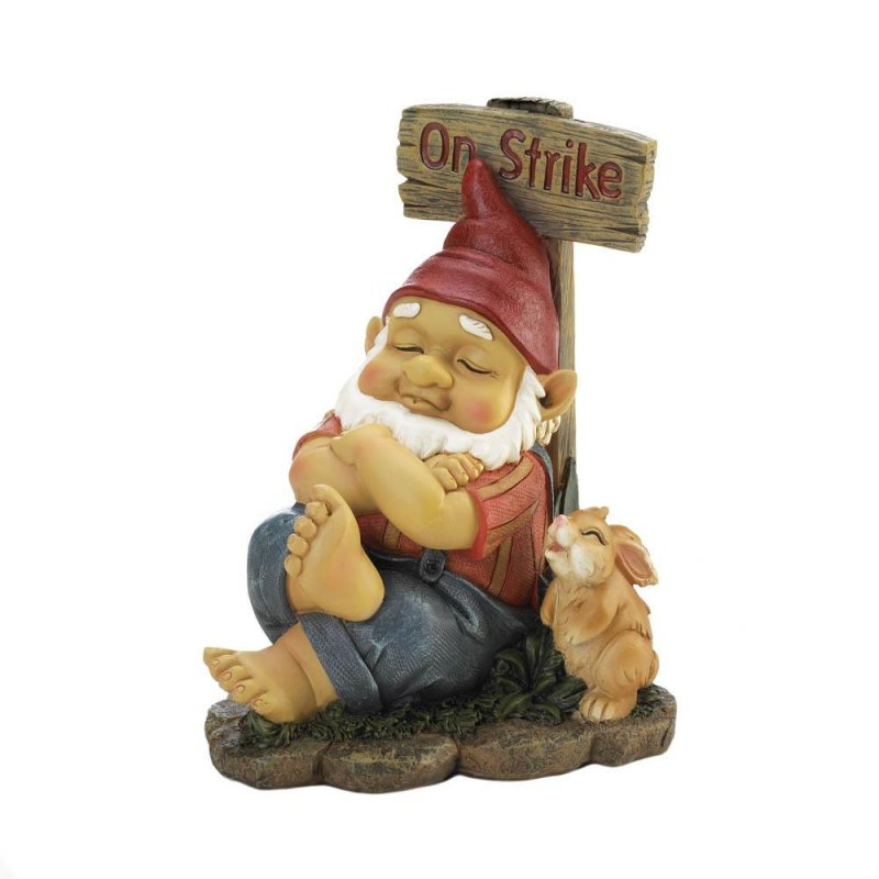 Image 0 of Napping Garden Gnome with Rabbit and On Strike Sign