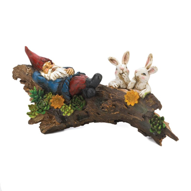 Image 1 of Garden Gnome Sleeping on Log w/ Two Bunnies & Solar Flowers Figurine Statue