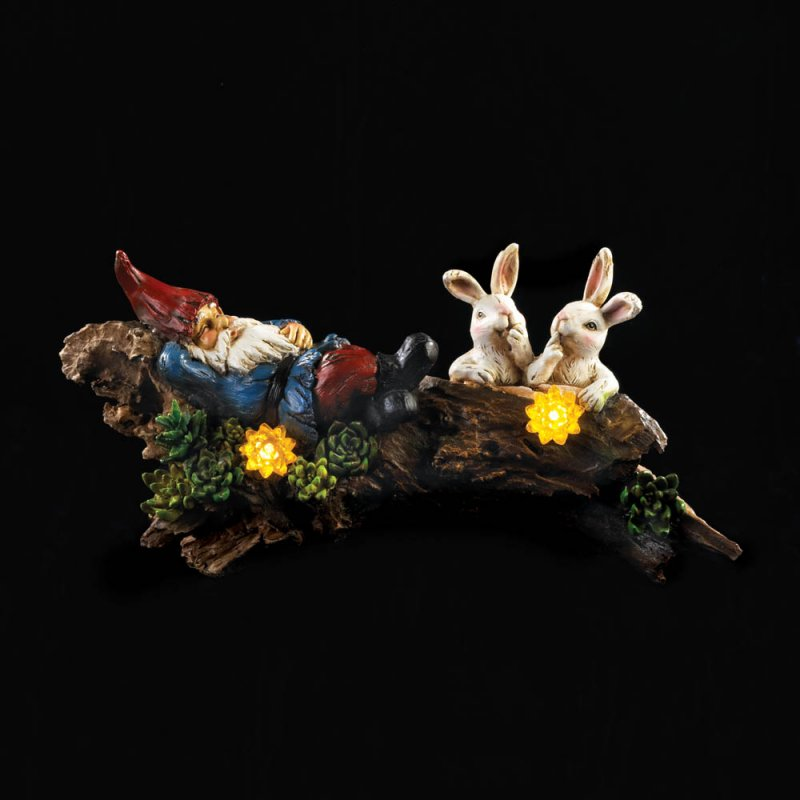 Image 2 of Garden Gnome Sleeping on Log w/ Two Bunnies & Solar Flowers Figurine Statue