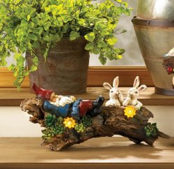 Garden Gnome Sleeping on Log w/ Two Bunnies & Solar Flowers Figurine Statue