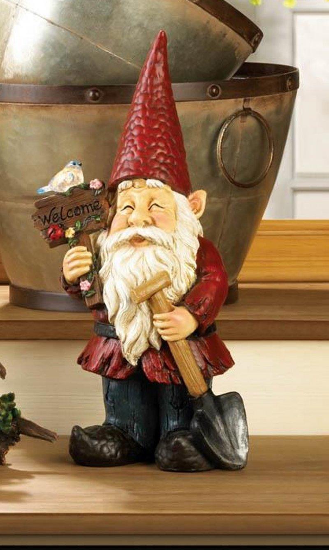 Image 0 of Garden Gnome Holding Welcome Sign & Shovel w/ Solar Bird Figurine Statue