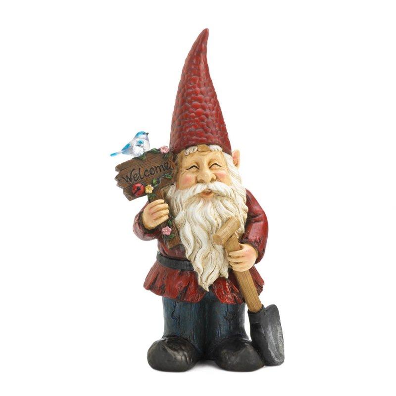 Image 1 of Garden Gnome Holding Welcome Sign & Shovel w/ Solar Bird Figurine Statue