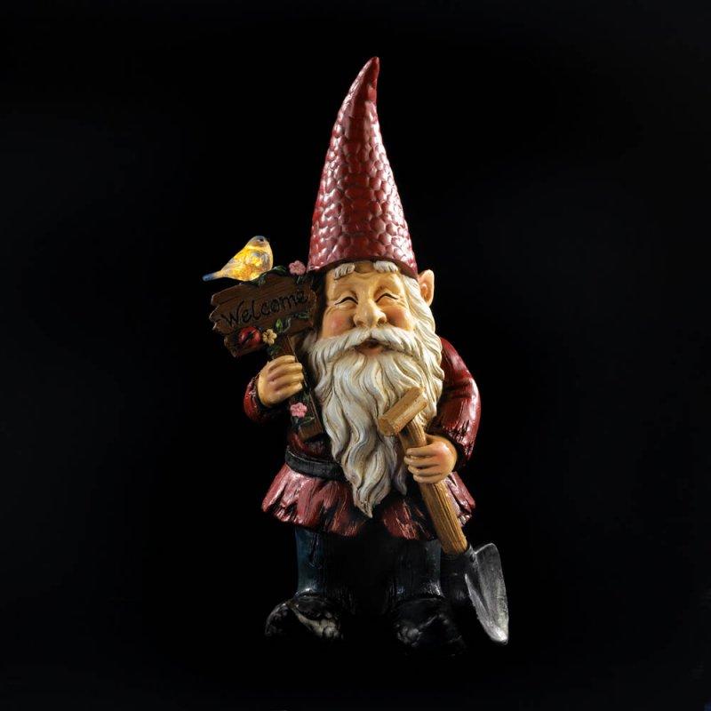 Image 2 of Garden Gnome Holding Welcome Sign & Shovel w/ Solar Bird Figurine Statue