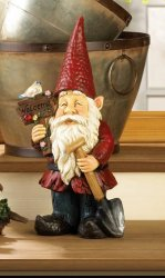 Garden Gnome Holding Welcome Sign & Shovel w/ Solar Bird Figurine Statue
