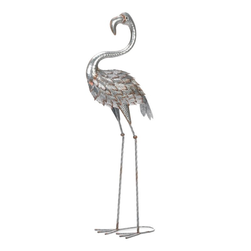 Image 0 of Galvanized Iron Standing Garden Flamingo over 3 Feet Tall