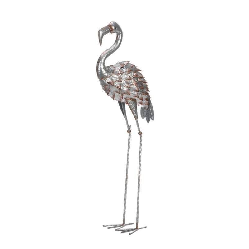 Image 0 of Galvanized Iron Garden Flamingo Statue over 35.5 Inches Tall