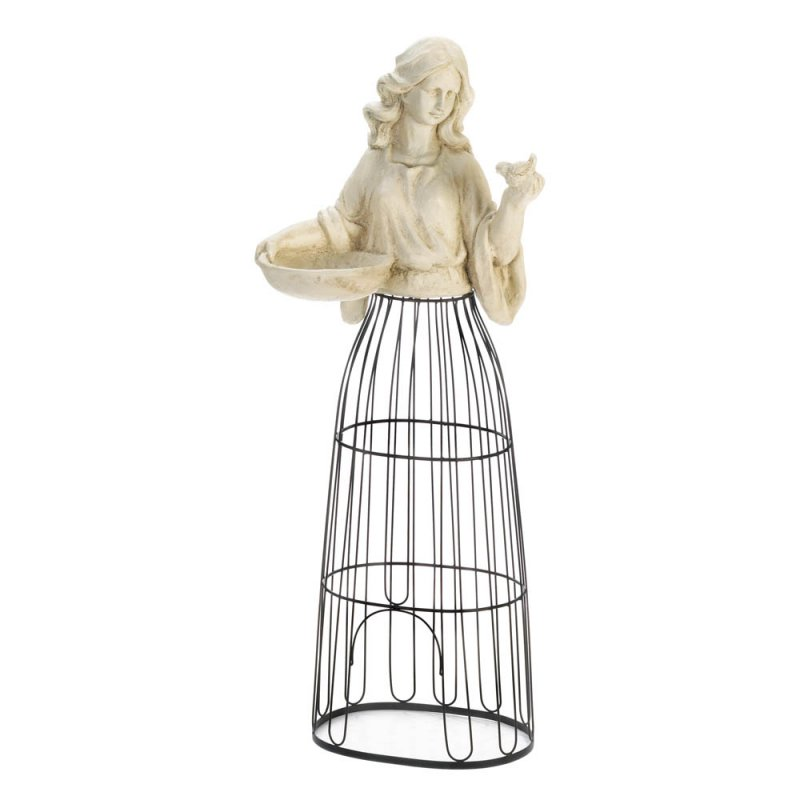 Image 1 of Lady Bust Holding Bird Feeder w/ Iron Cage Plant Atrium Underneath 43.5