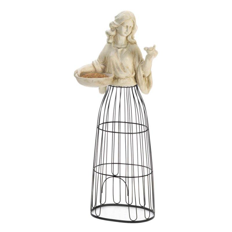 Image 2 of Lady Bust Holding Bird Feeder w/ Iron Cage Plant Atrium Underneath 43.5