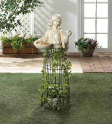 Lady Bust Holding Bird Feeder w/ Iron Cage Plant Atrium Underneath 43.5 Tall