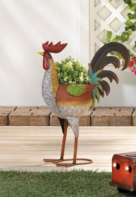 Image 0 of Farmhouse Style Rustic Multi-Color Iron Rooster Planter
