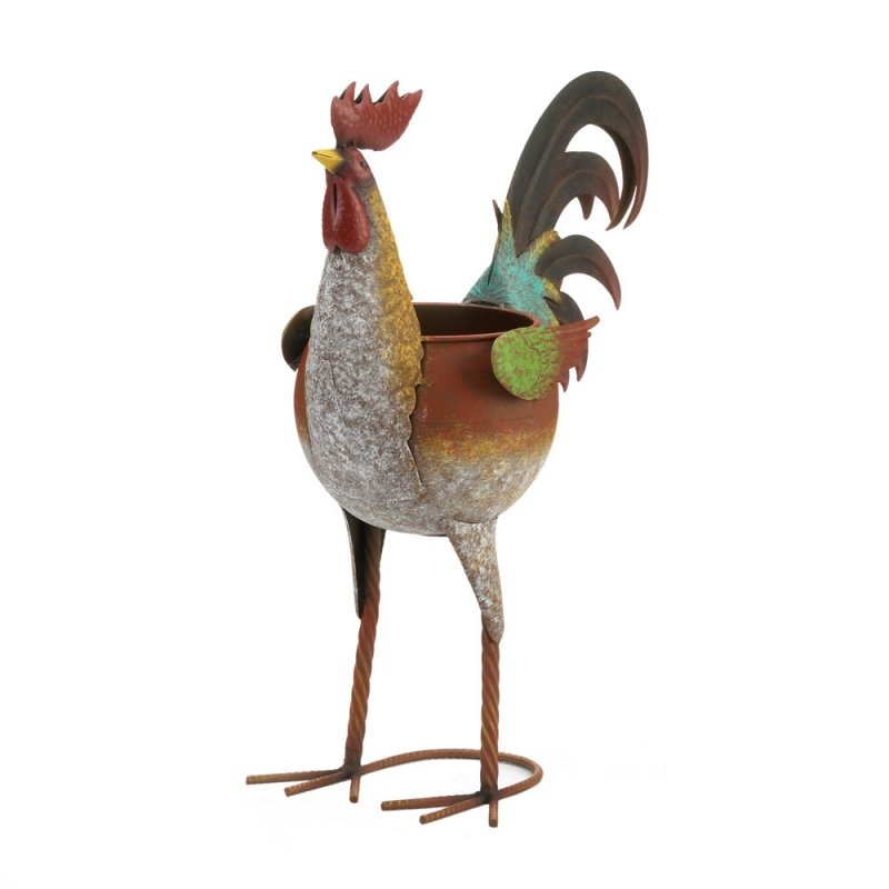 Image 1 of Farmhouse Style Rustic Multi-Color Iron Rooster Planter