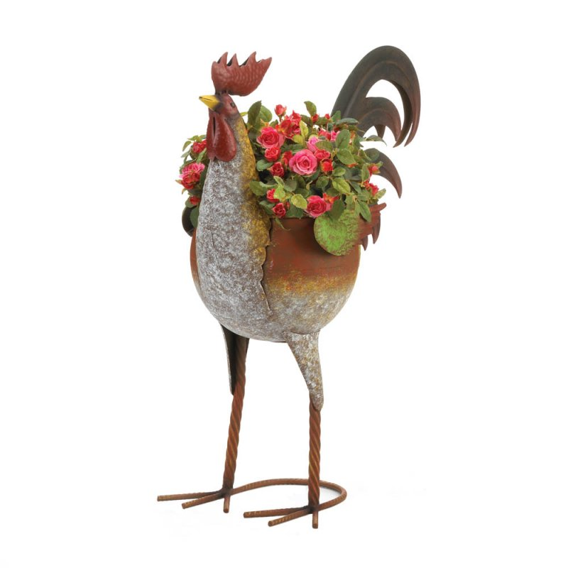 Image 2 of Farmhouse Style Rustic Multi-Color Iron Rooster Planter