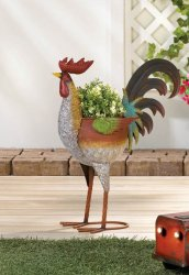 Farmhouse Style Rustic Multi-Color Iron Rooster Planter