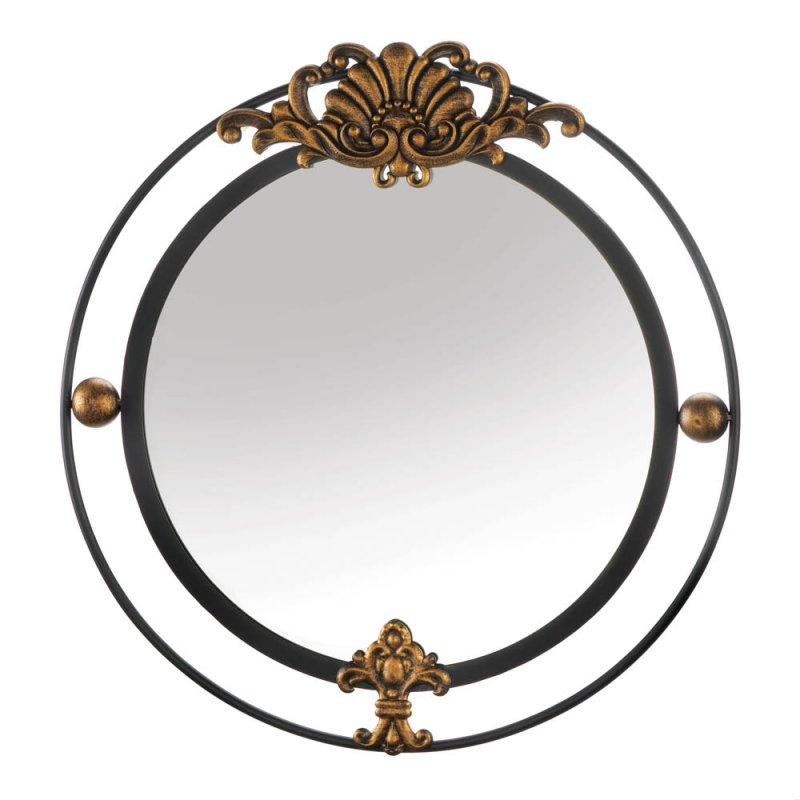 Image 0 of Contemporary Regal Black Iron Double Circle Frame w/ Gold Accents Wall Mirror