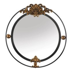 Contemporary Regal Black Iron Double Circle Frame w/ Gold Accents Wall Mirror