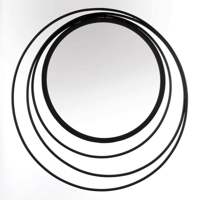 Image 0 of Modern Geometric Design Three Ring Black Frame Wall Mirror