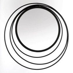 Modern Geometric Design Three Ring Black Frame Wall Mirror