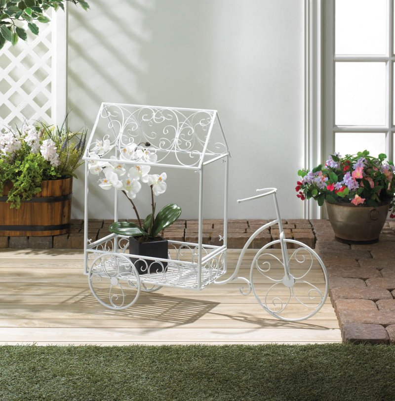 Image 0 of White French Country Style Vintage Design Bicycle Plant Stand House Cart