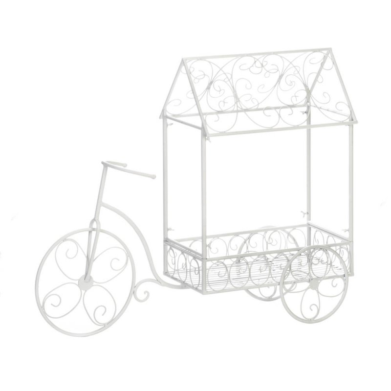 Image 1 of White French Country Style Vintage Design Bicycle Plant Stand House Cart
