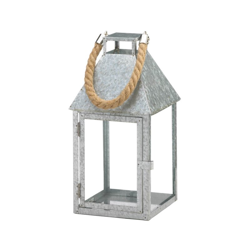 Image 0 of Large Galvanized Iron Farmhouse Style Candle Lantern w/ Glass Panes, Rope Handle