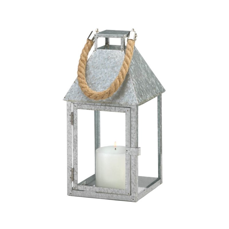 Image 1 of Large Galvanized Iron Farmhouse Style Candle Lantern w/ Glass Panes, Rope Handle