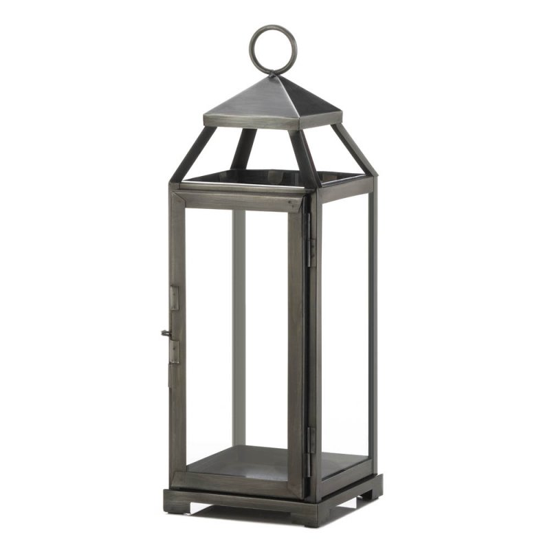 Image 0 of Medium Contemporary Brushed Pewter Finish Metal Candle Lantern