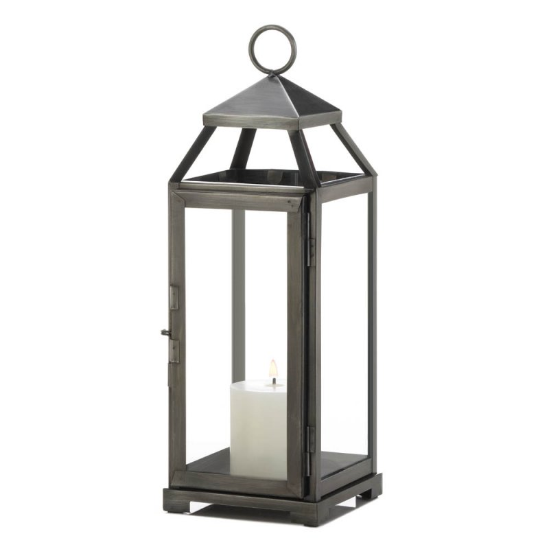 Image 1 of Medium Contemporary Brushed Pewter Finish Metal Candle Lantern