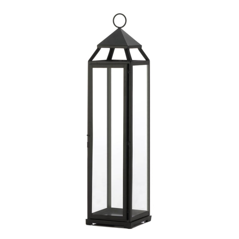 Image 0 of Black Contemporary Extra Tall Candle Lantern Over 2 Feet Tall