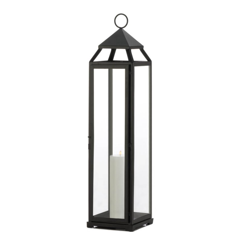 Image 1 of Black Contemporary Extra Tall Candle Lantern Over 2 Feet Tall