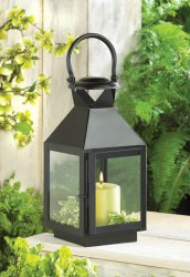 Black Contemporary Extra Tall Candle Lantern Over 2 Feet Tall