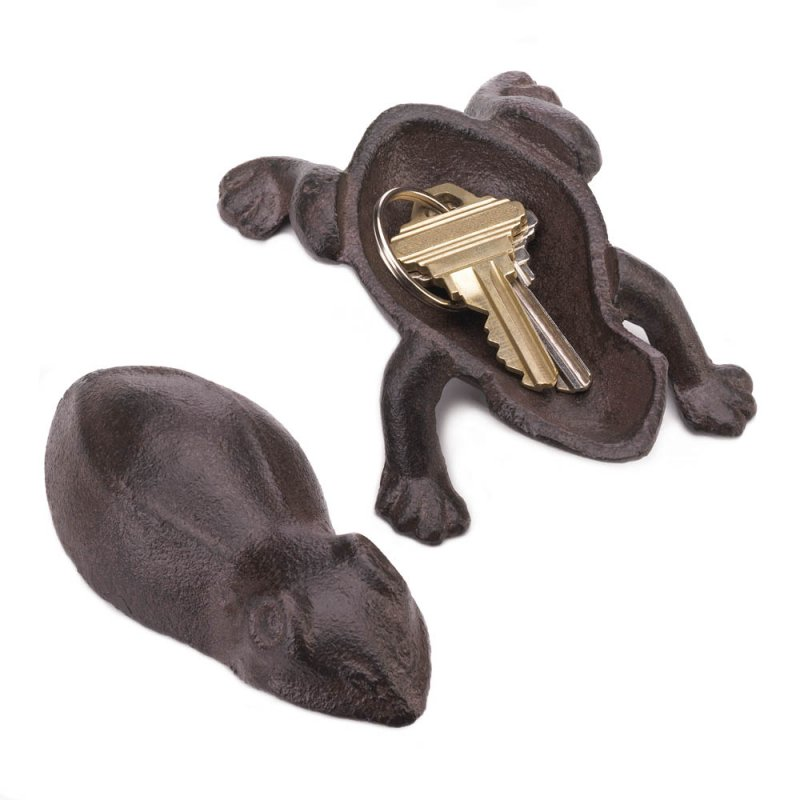Image 1 of Cast Iron Frog Garden Key Hider Figurine Garden Decor