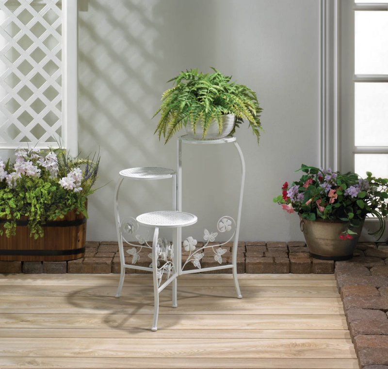 Image 0 of 3-Tier White Butterfly  & Flower Scrollwork Plant Stand Round Lattice Platforms