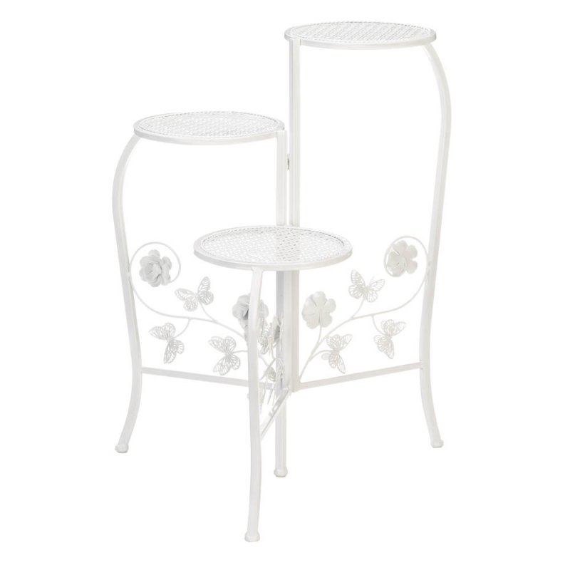 Image 1 of 3-Tier White Butterfly  & Flower Scrollwork Plant Stand Round Lattice Platforms