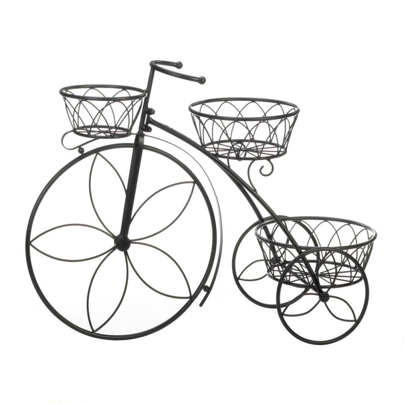 Image 0 of 3 Basket Tricycle Plant Stand Flower Shaped Spokes Perfect for Deck or Patio