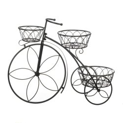 3 Basket Tricycle Plant Stand Flower Shaped Spokes Perfect for Deck or Patio