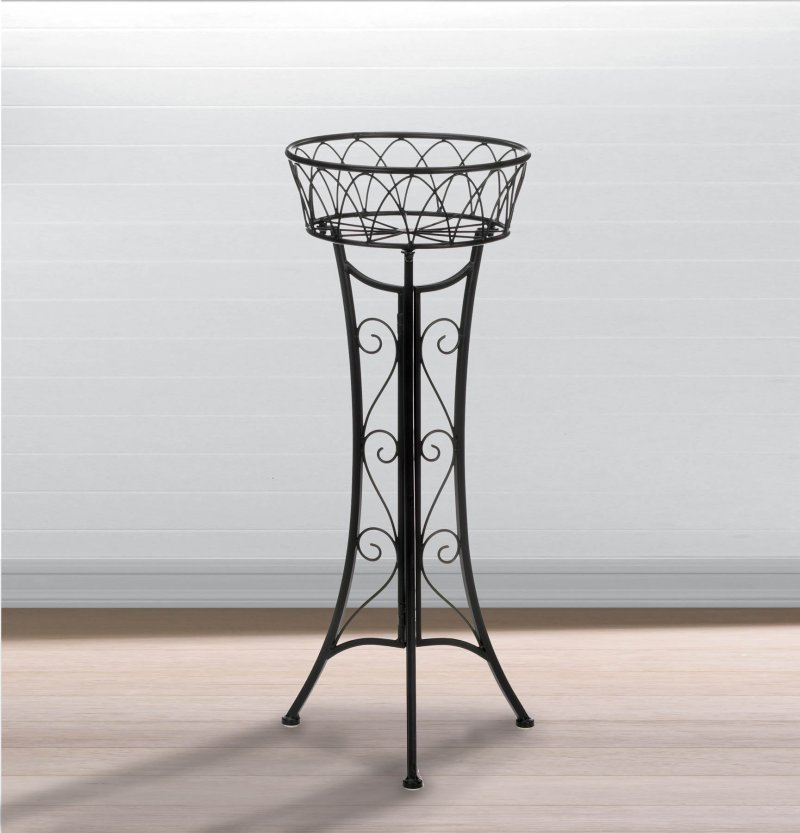 Image 0 of Elegant Contemporary Single Basket Curlicue Plant Stand use Indoors or Outdoor