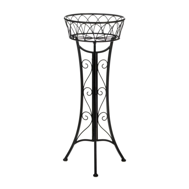 Image 1 of Elegant Contemporary Single Basket Curlicue Plant Stand use Indoors or Outdoor