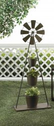 Country Windmill 3 Bucket Tiered Plant Stand Garden, Deck, Patio Decor 41 Tall