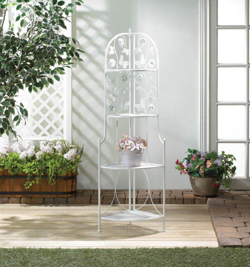 Image 0 of White Corner Stand w/ 4 Latticework Shelves Butterfly Embellishments 58