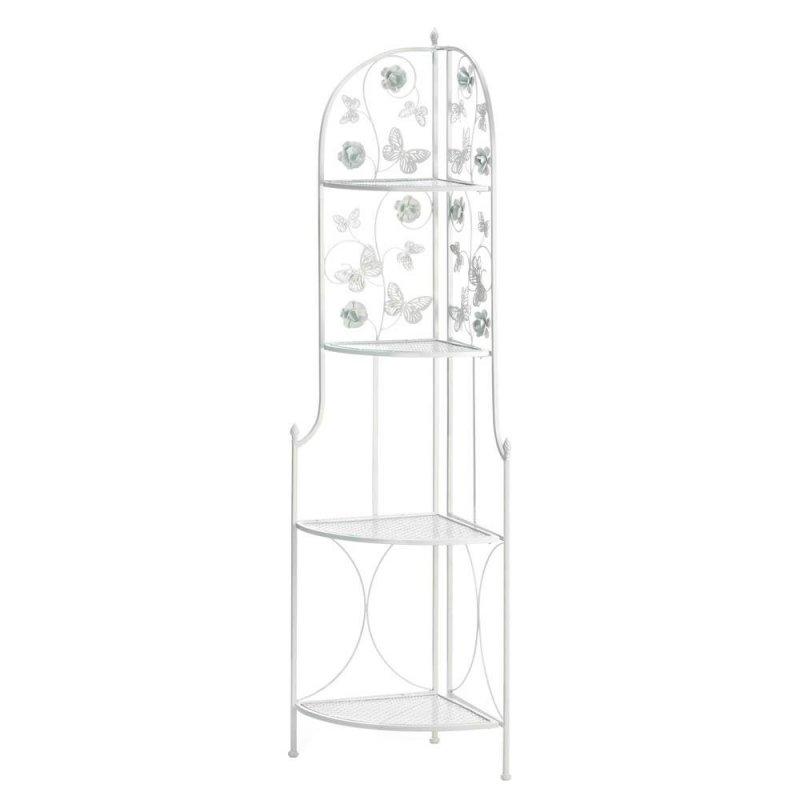 Image 1 of White Corner Stand w/ 4 Latticework Shelves Butterfly Embellishments 58