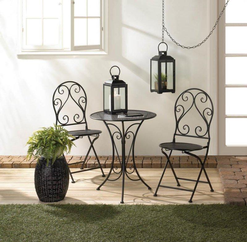 Image 0 of Chic Black Iron Patio, Balcony Bristro Set w/ Folding Chairs for Easy Storage