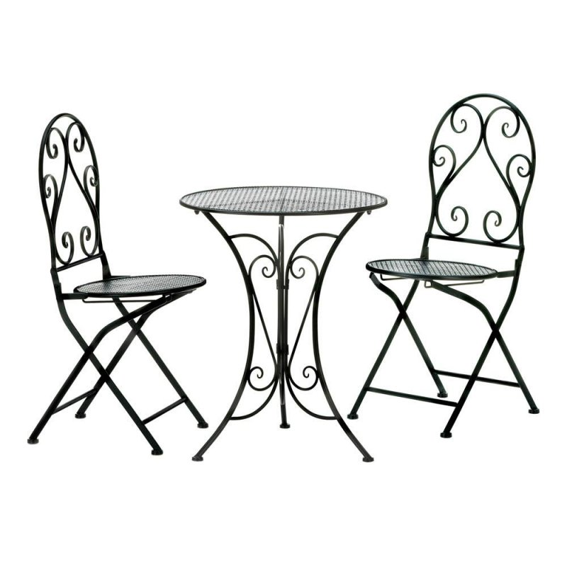 Image 1 of Chic Black Iron Patio, Balcony Bristro Set w/ Folding Chairs for Easy Storage