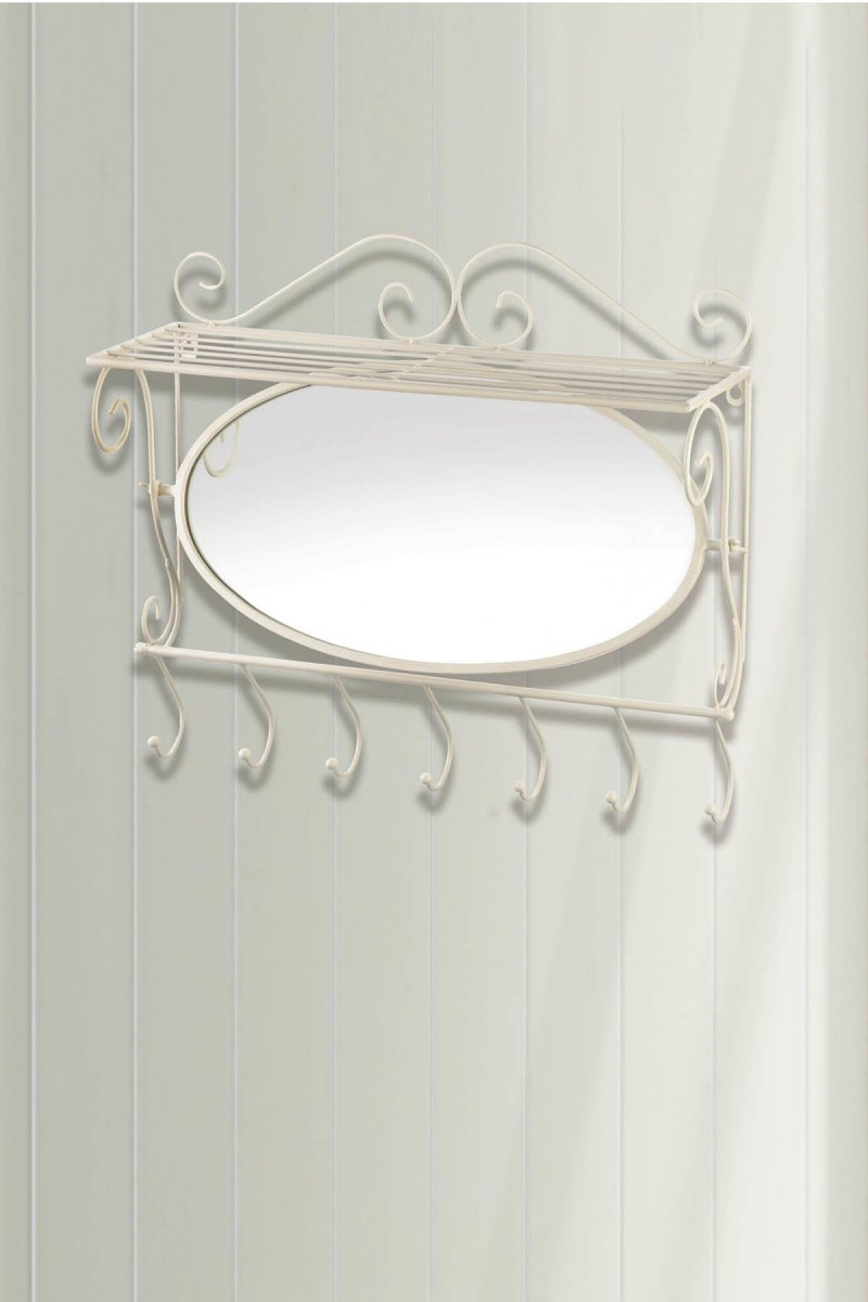 Image 0 of White Mirror Wall Shelf w/ 7 Sturdy Hooks for Hanging Towels, Hats, Jackets