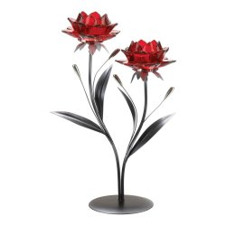 Beautiful Double Red Flowers on Leafy Stem Tealight Candle Holder
