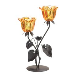 Double Glass Amber Flowers on Leafy Stem Tealight Candle Holder