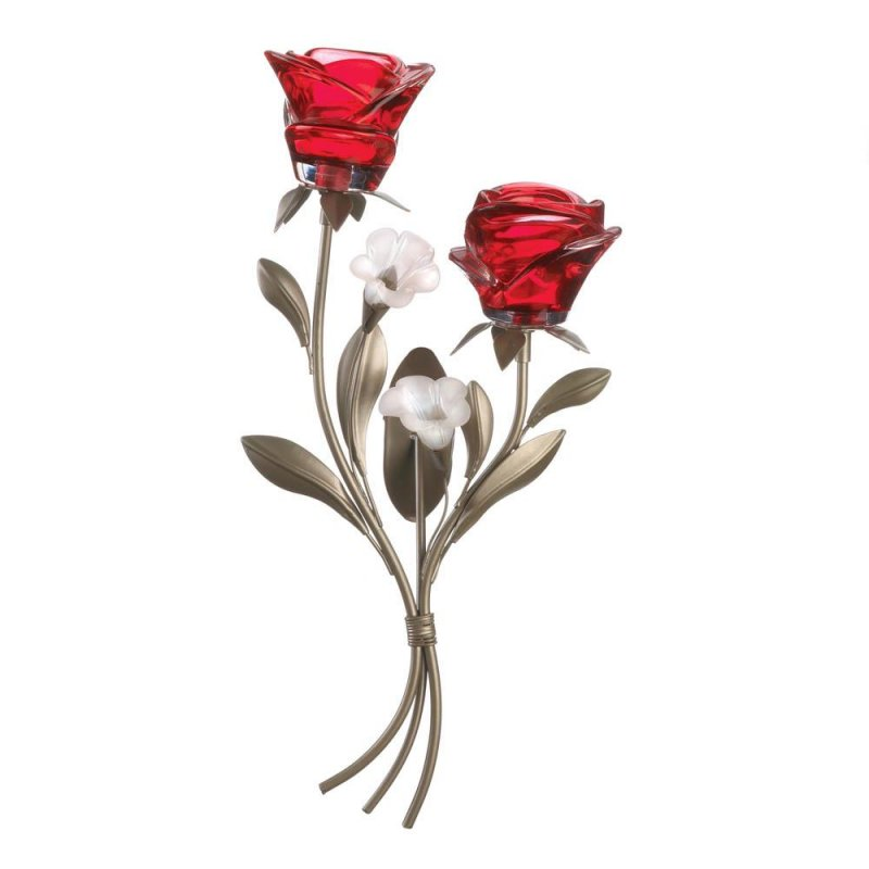 Double red rose wall sconce
