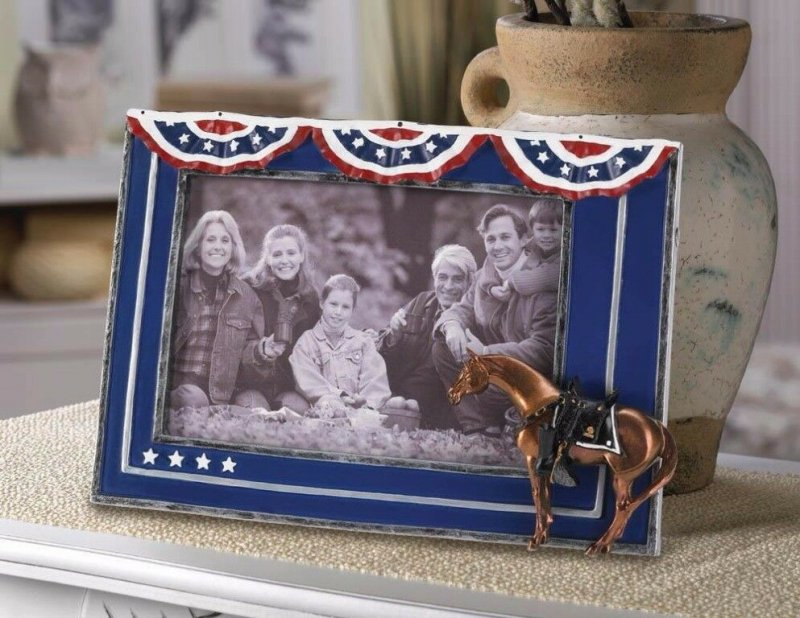 Image 0 of Fallen Heroes Patriotic Horse Photo Frame Holds 4 x 6 Photo